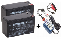 2 x Ultralife 7.5Ah 12V LiFePO4 batteries and Optimate 1 Duo charger
